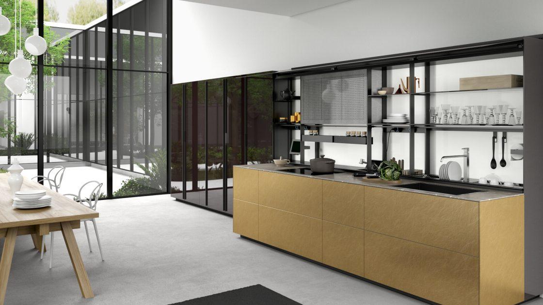 Luxe keukens; Valcucine artematica messing